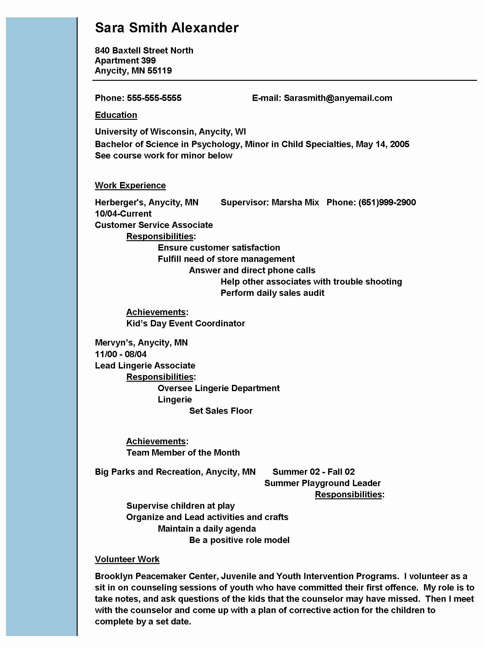 Social Work Resume Example Resume Templates