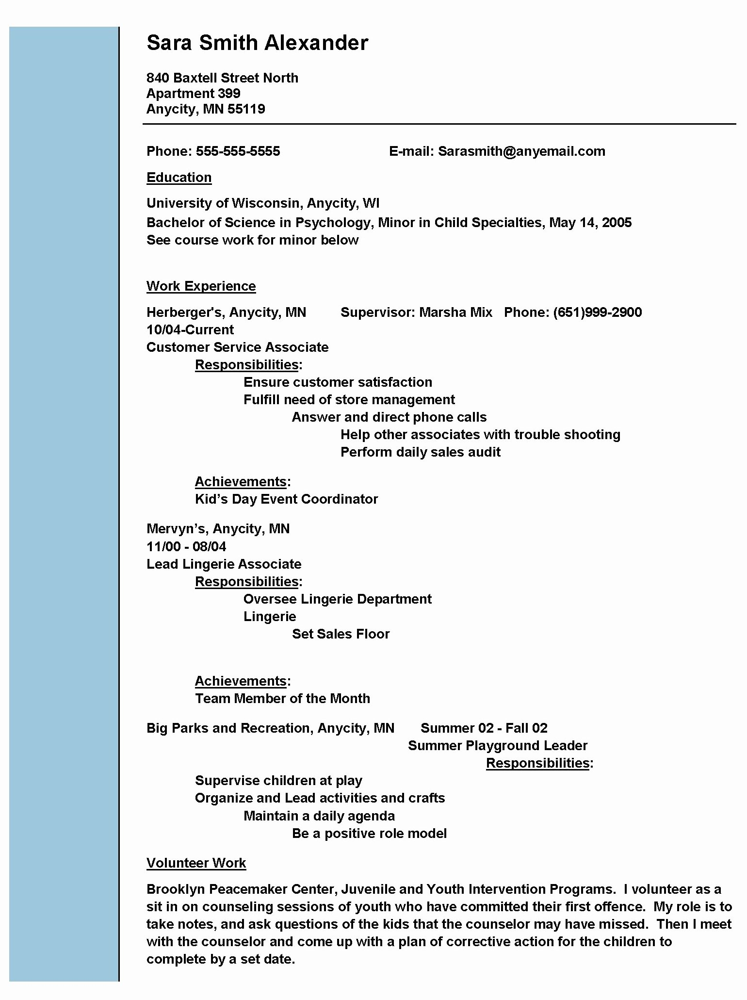 Social Work Resume Example Resume Templates