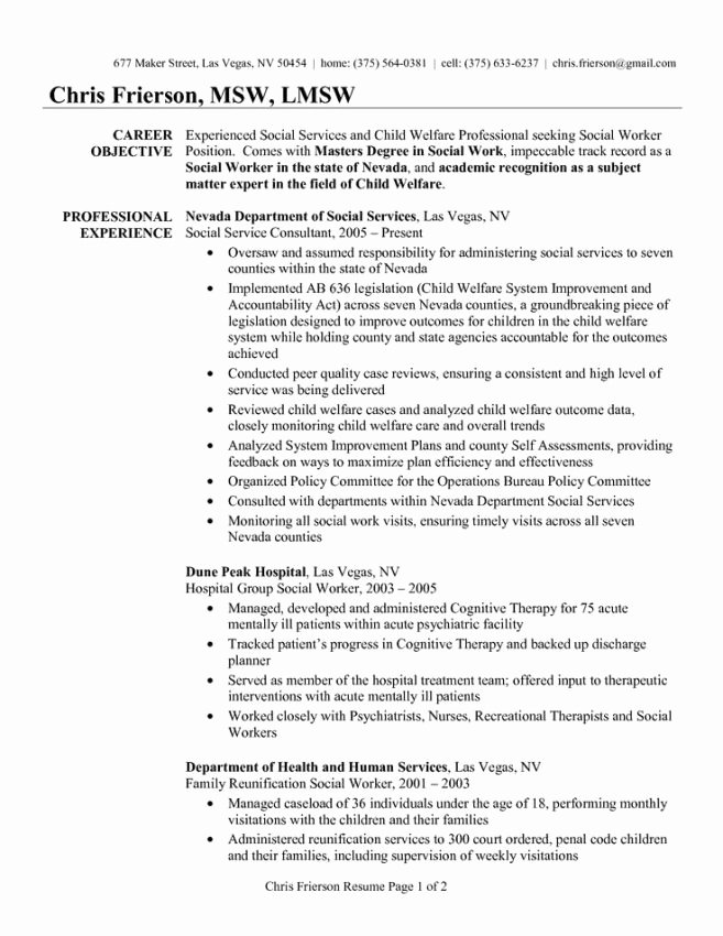 Social Work Resume Examples Resume Sample social Work