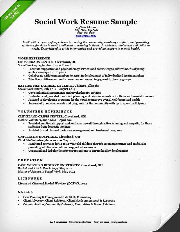 Social Work Resume Sample & Writing Guide