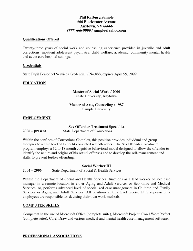 Social Work Resume Sample Entry Level Worker Medical