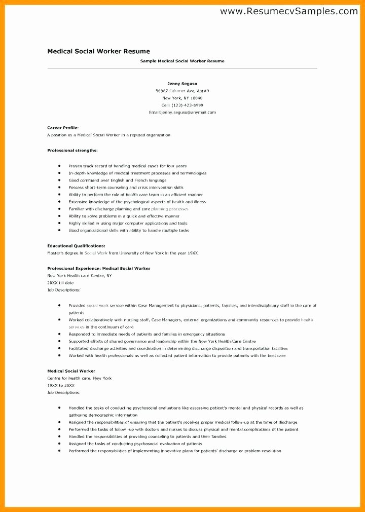 Social Work Resume Template Sample Beautiful Objective