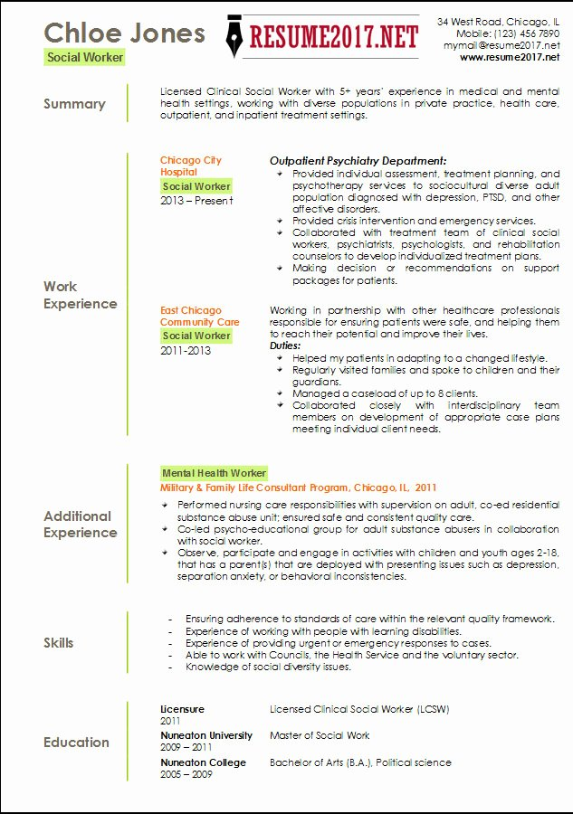 Social Worker Resume Template 2017