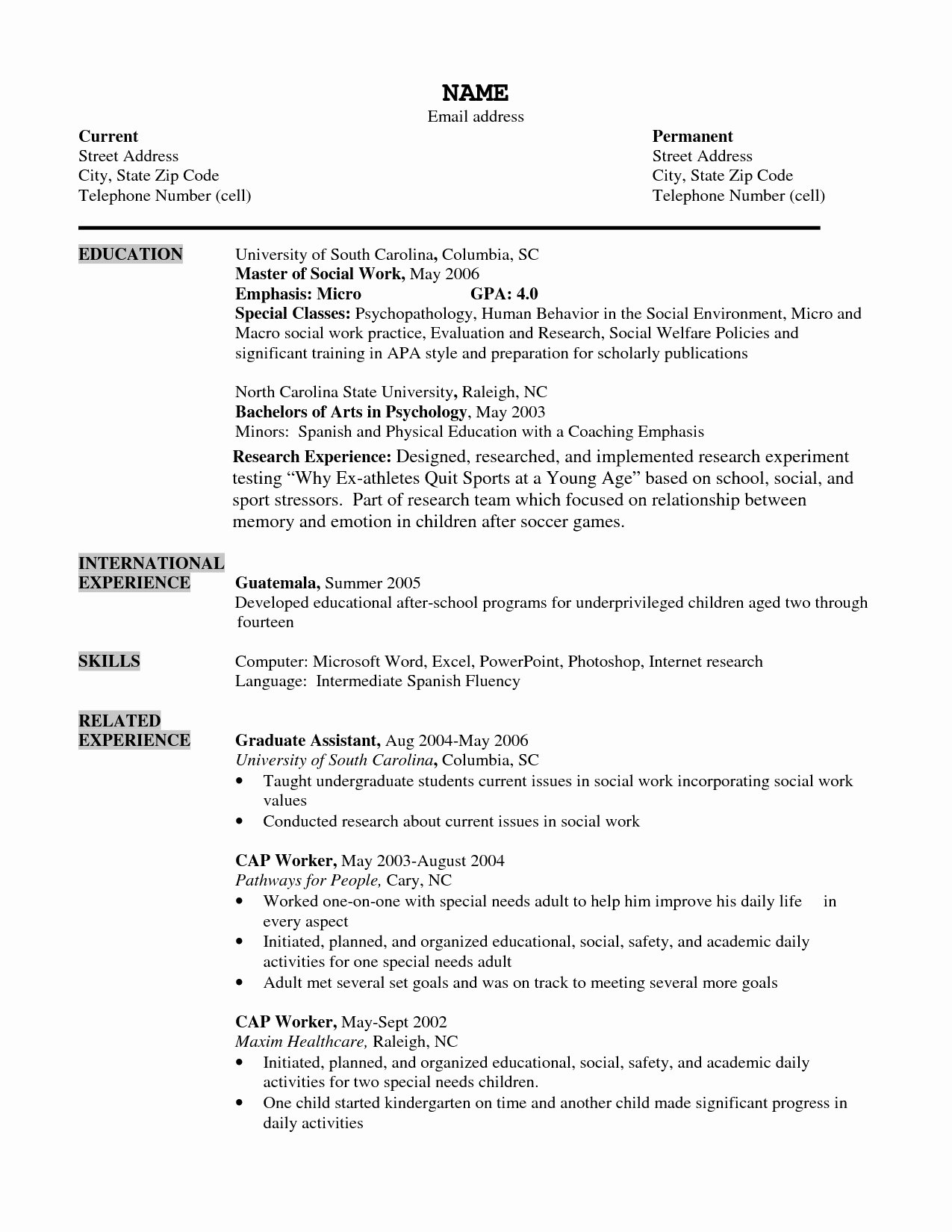 Social Worker Resume Templates Job Resume Sample social