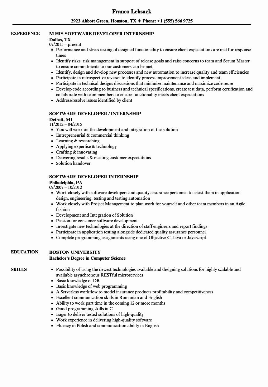 Software Developer Internship Resume Samples