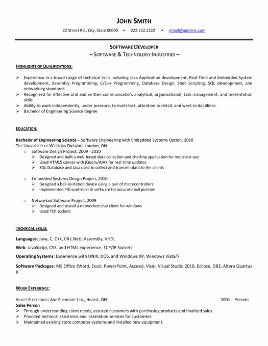 Software Developer Resume Sample & Template