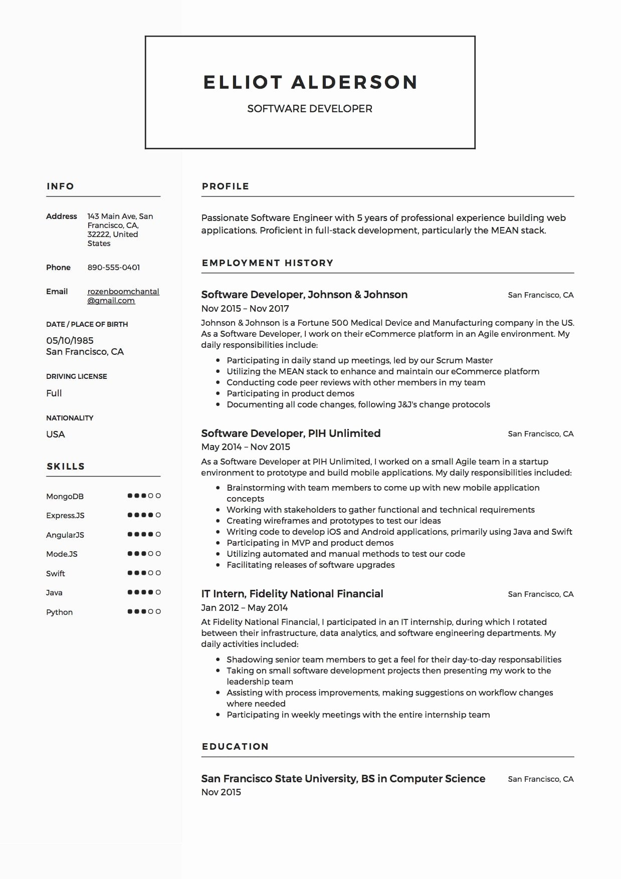 Software Developer Resume Samples