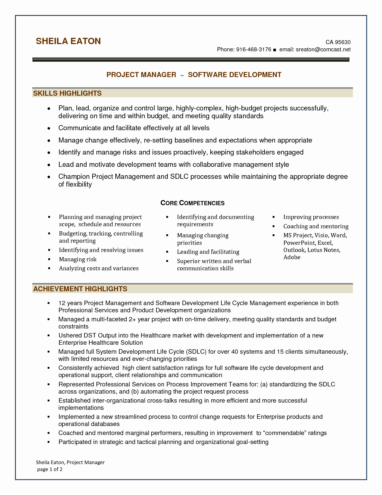 Software Development Manager Resume
