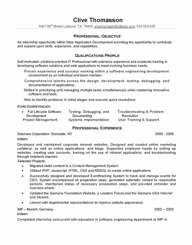 Software Engineer Internship Resume – Creero