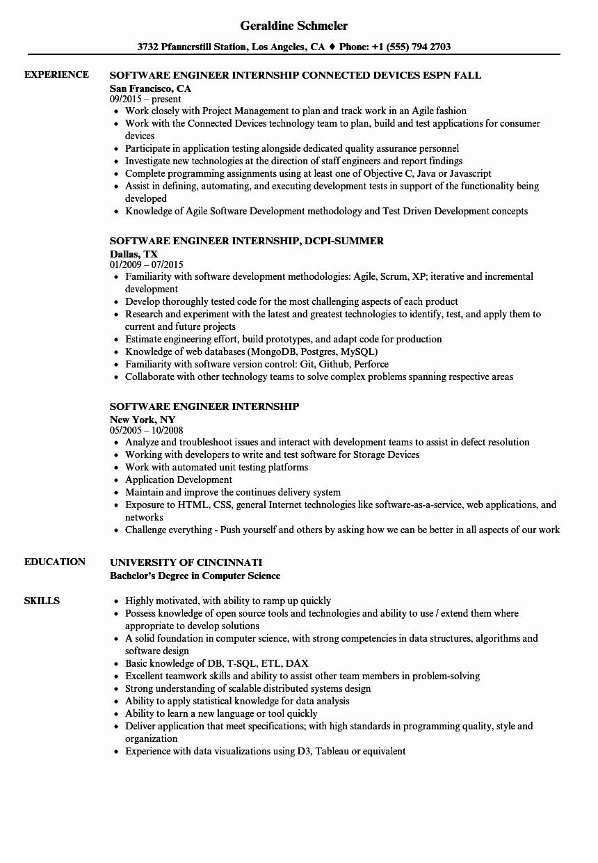 software engineer internship resume sample