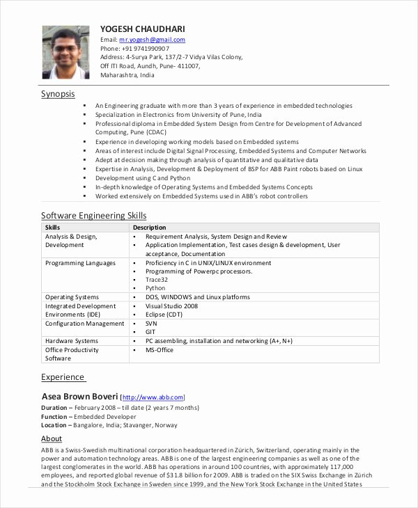 Software Engineer Resume Example 10 Free Word Pdf