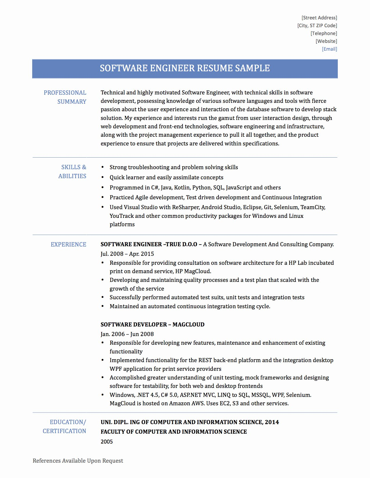 Software Engineer Resume format Experienced Bongdaao