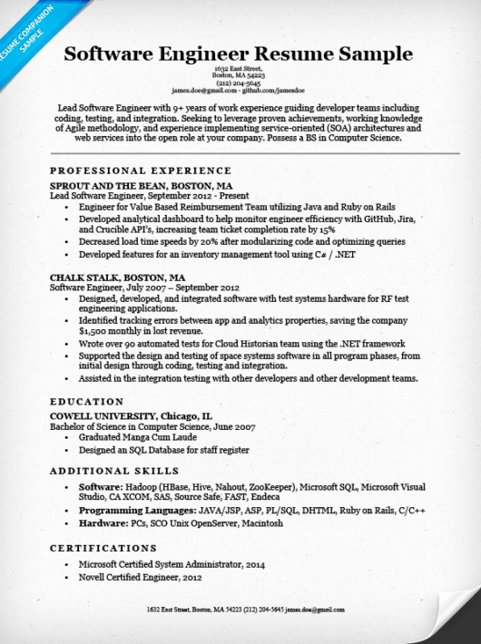 Software Engineer Resume Sample & Writing Tips