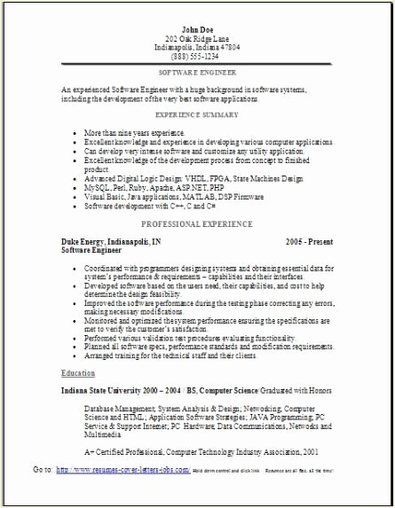 Software Engineer Resume Sample Occupational Examples