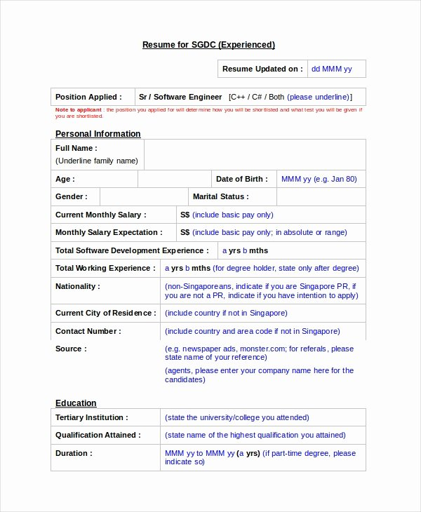 Software Engineer Resume Template 6 Free Word Pdf