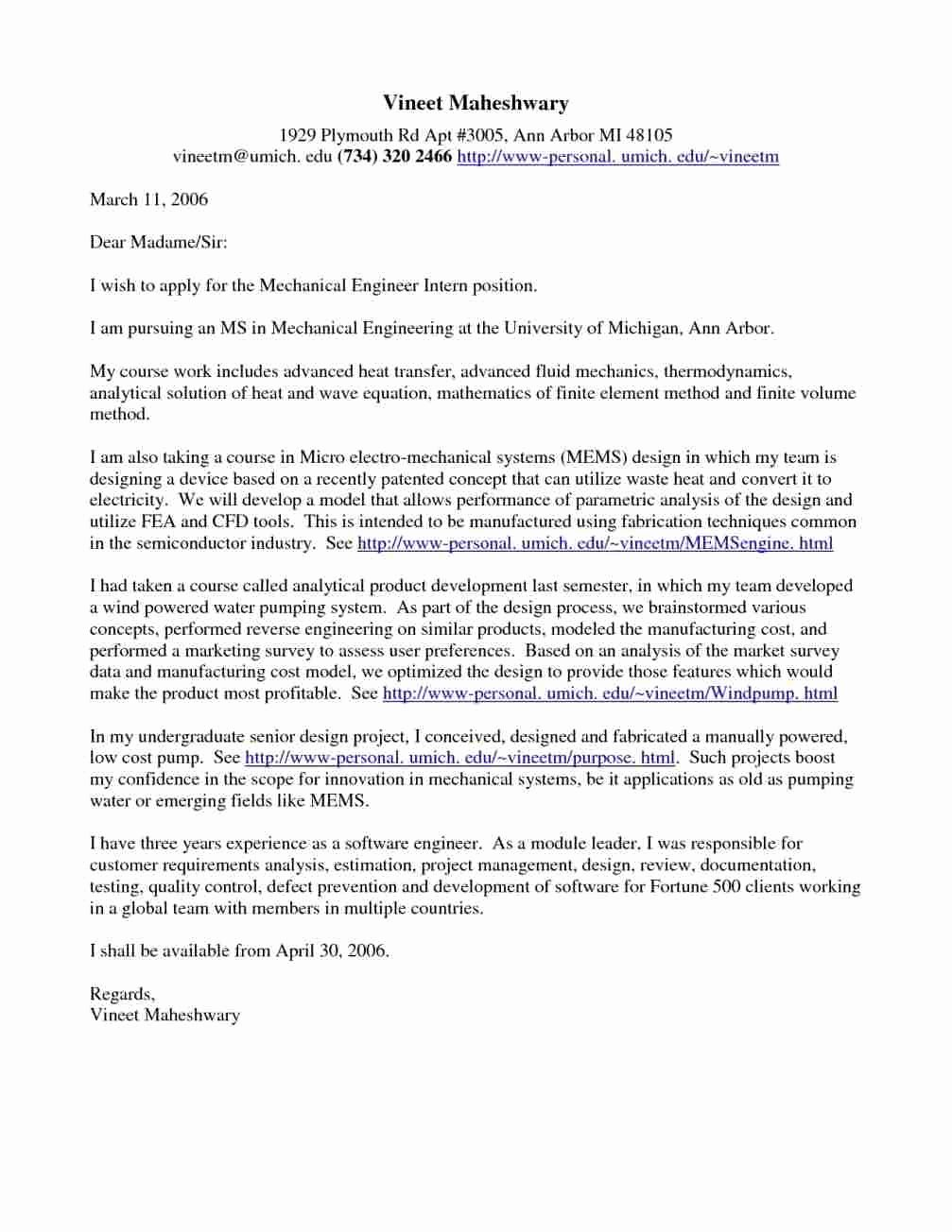 Software Engineering Cover Letter Examples