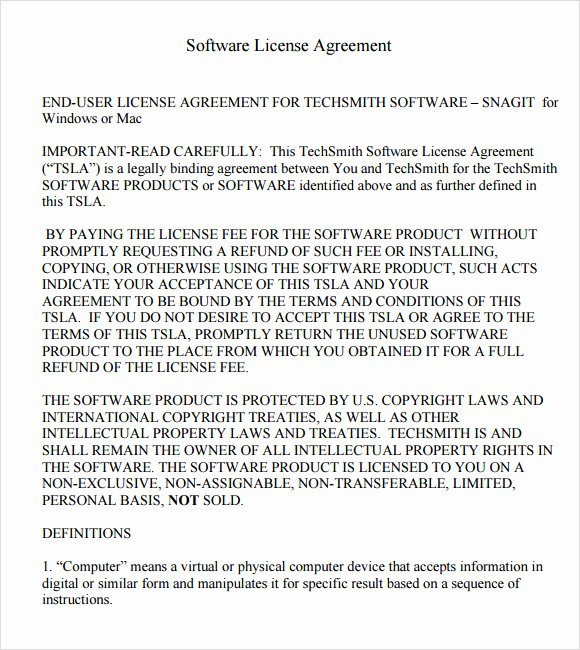 Software License Agreement –7 Free Samples Examples