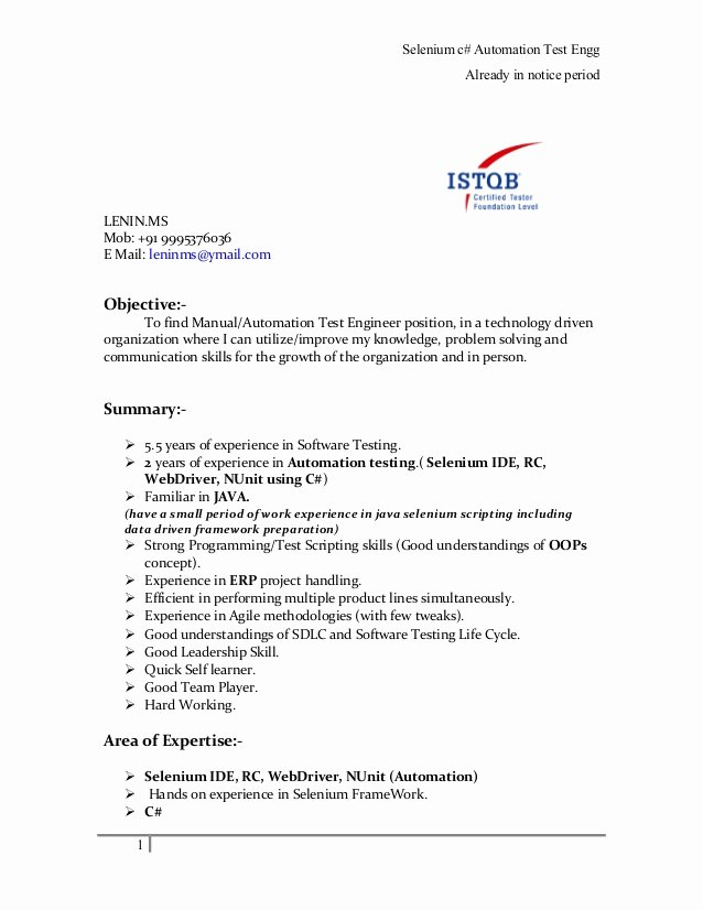 Software Quality assurance Engineer Lenin Resume