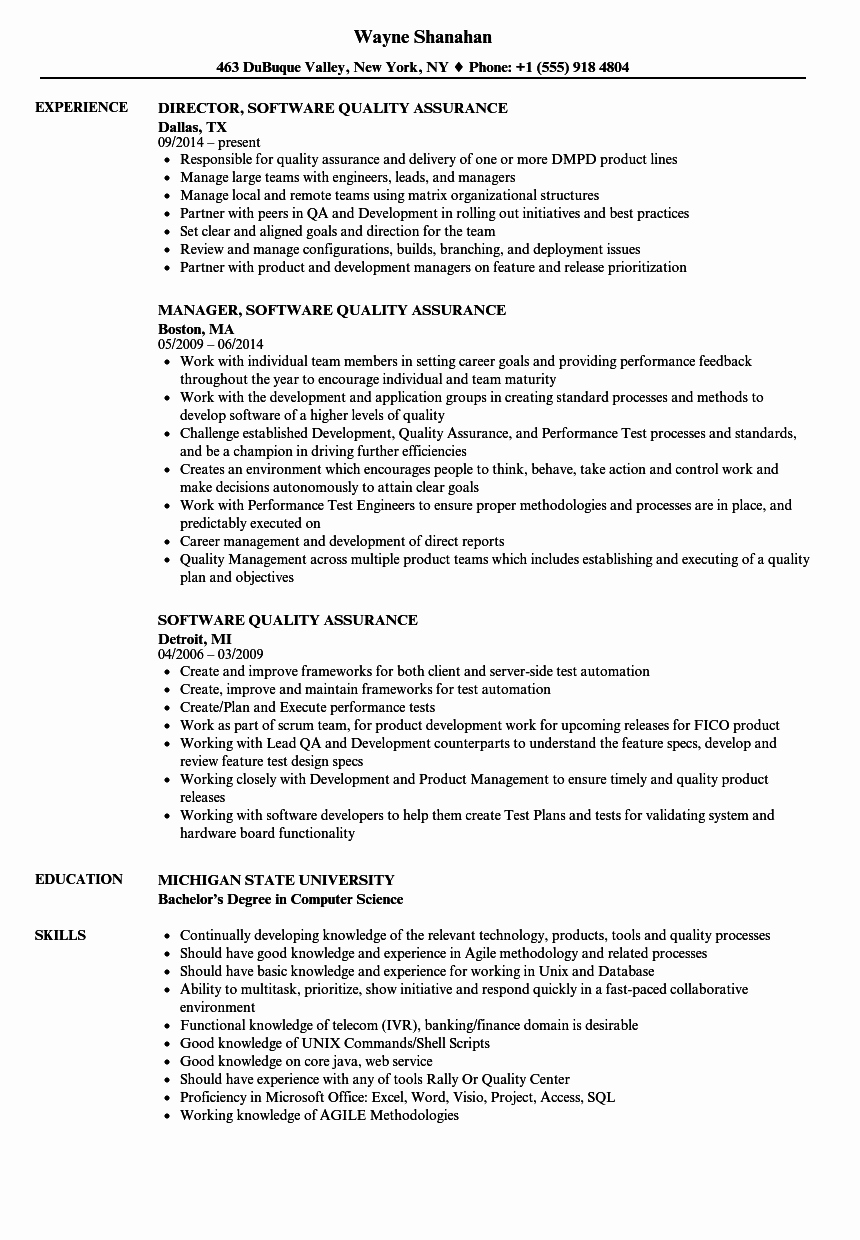 Software Quality assurance Resume Samples