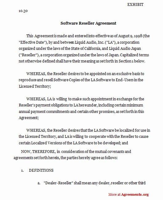 Software Reseller Agreement Sample software Reseller