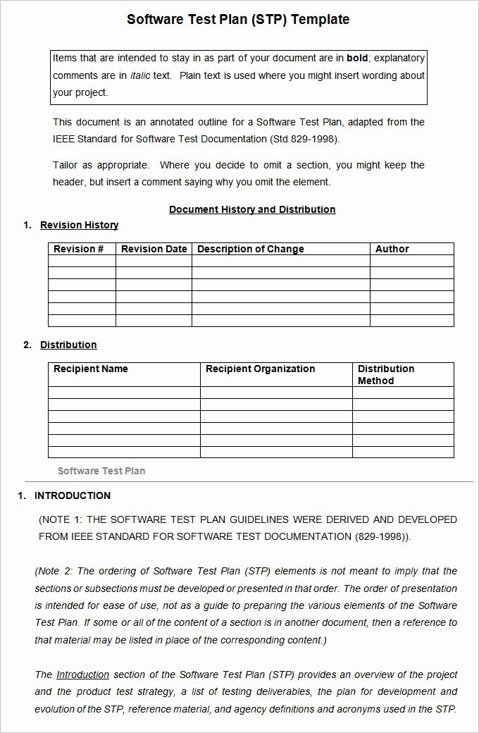 Software Test Plan Template Free Word Excel Pdf – Plan Bee