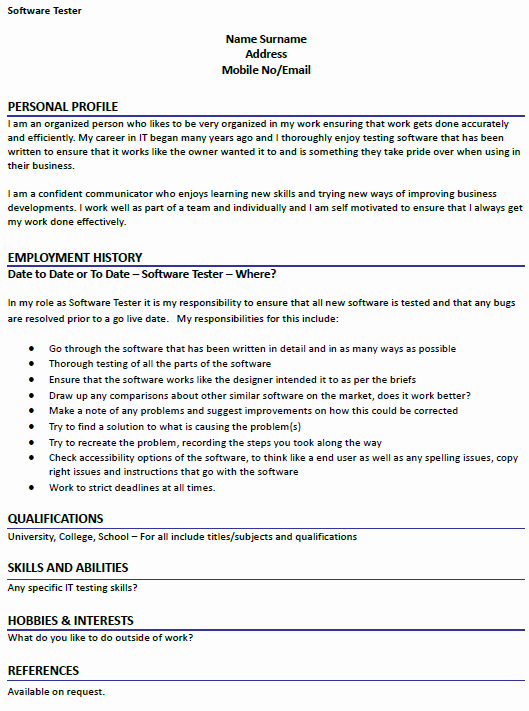 Software Tester Cv Example Icover