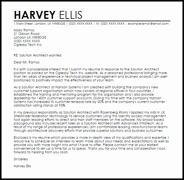 Solution Architect Cover Letter Sample – Latter Example Template