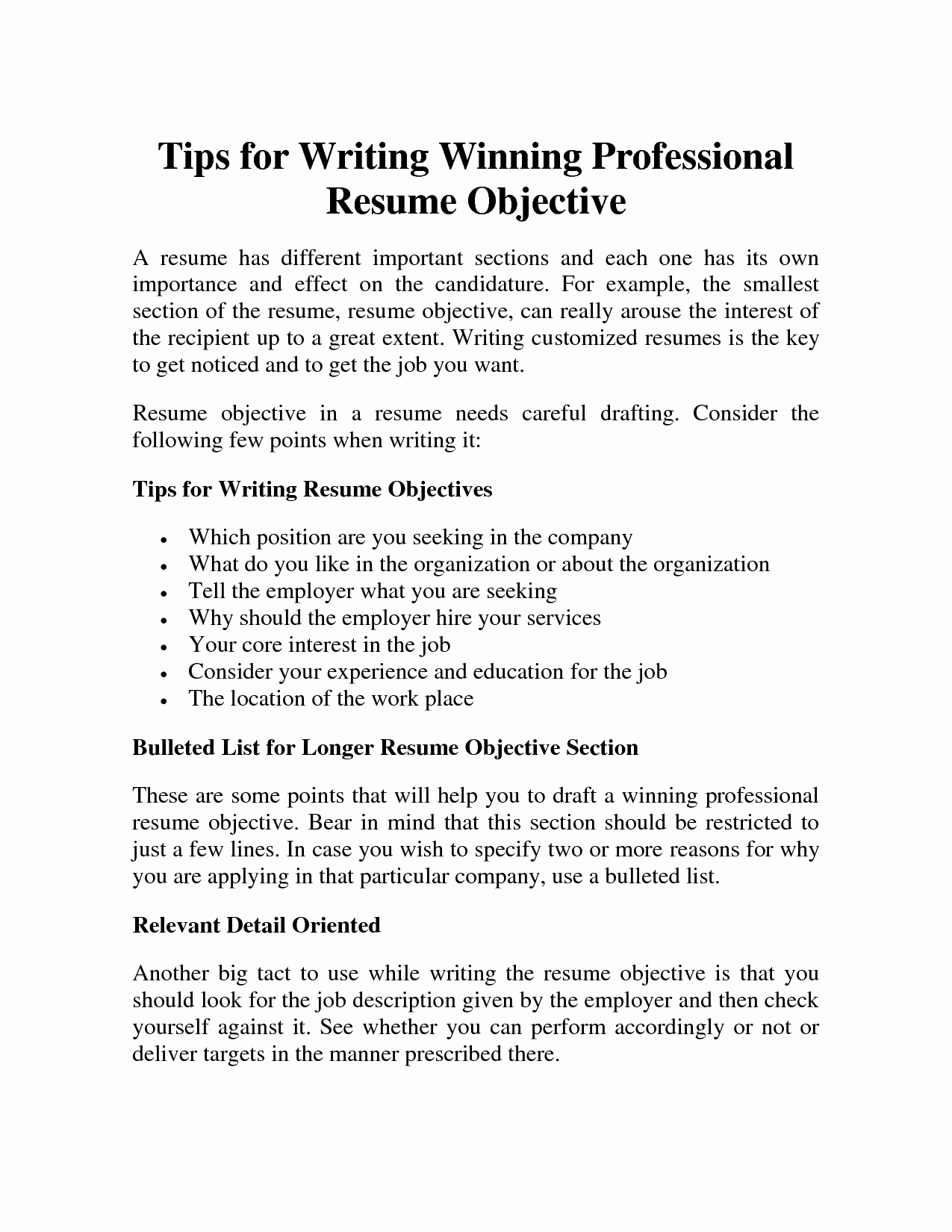 Some Good Career Objectives for Resume Resume Ideas