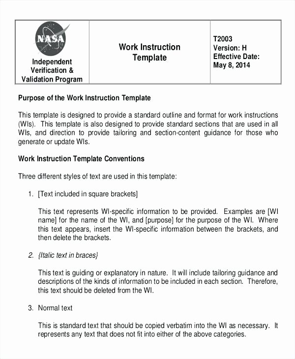 Sop Templates Visual Work Instructions Standard Operating
