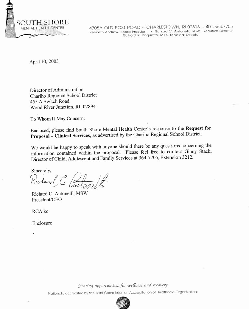 South Shore Mental Health Center 2003 Rfp Bid