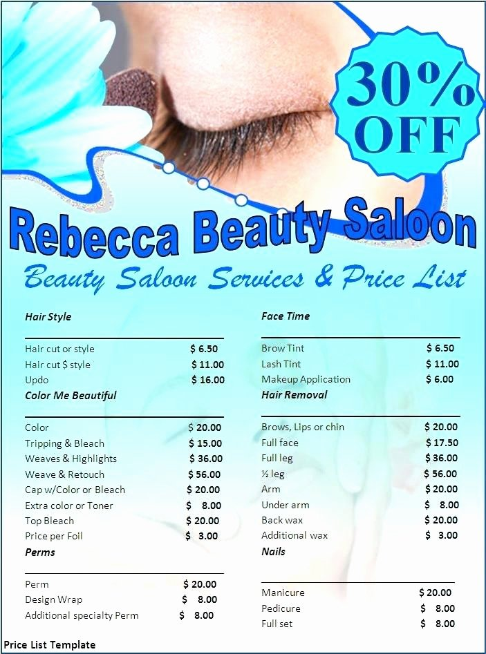 Spa Beauty Salon Brochure Template Price List Free therapy