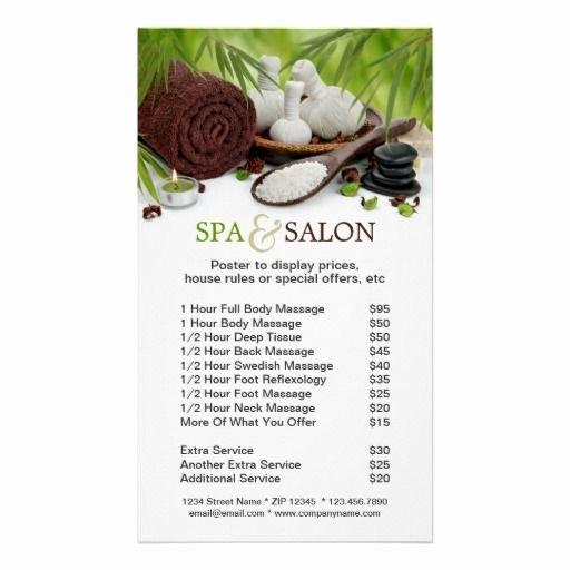 Spa Massage Salon Menu Services Poster
