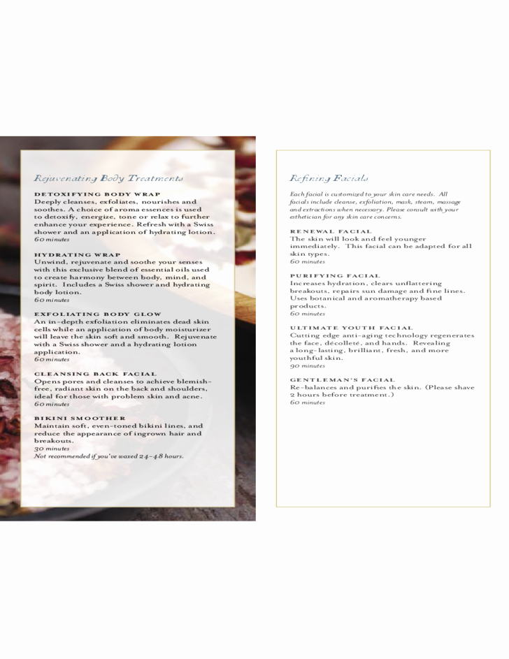Spa Menu Of Service the White Barn Inn Free Download