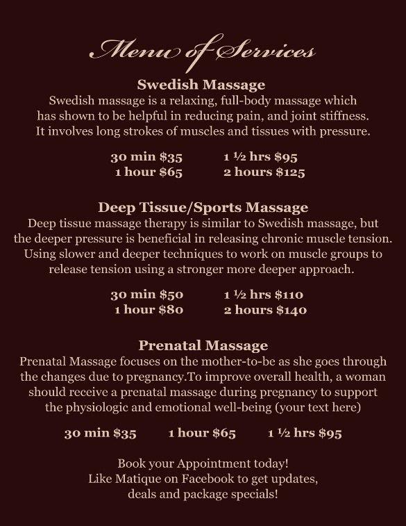 Spa Menu Templates – 27 Free Psd Eps Documents Download