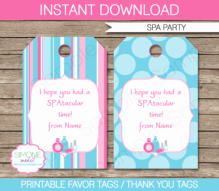 Spa Party Favor Tags Template