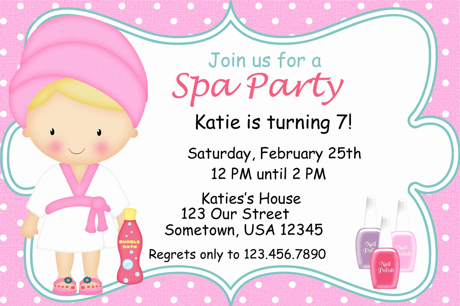 Spa Party Invitations Printable Birthday Party by