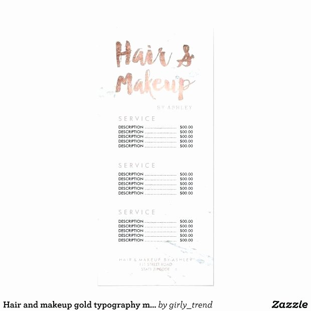 Spa Services Price List Tags Posing Nail Salon Template