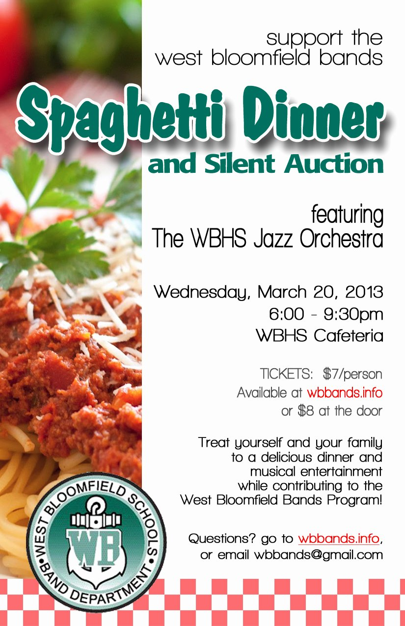 Spaghetti Dinner & Silent Auction – West Bloomfield Bands
