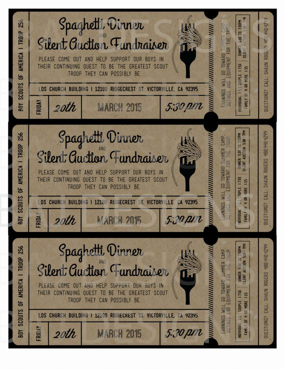 Spaghetti Dinner Ticket Template Entown Posters