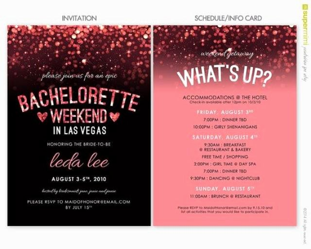 Sparkly Pink Black Vegas Bachelorette Invitation and