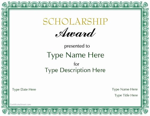 Special Certificate Scholarship Award
