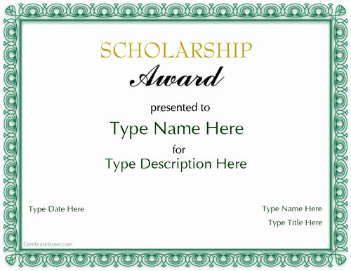 Special Certificates Scholarship Award