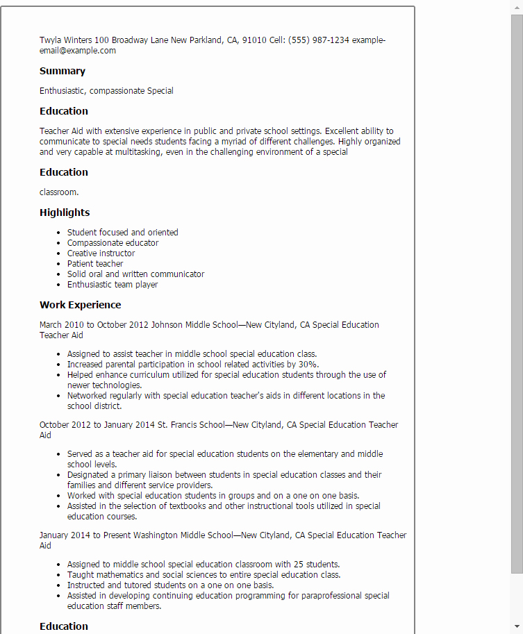 Special Education Teacher Aide Resume Template — Best