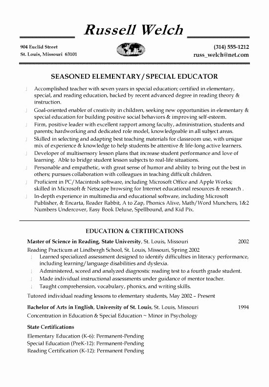 Special Education Teacher assistant Resume Best Resume