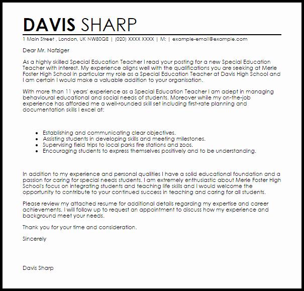 Special Education Teacher Cover Letter Sample