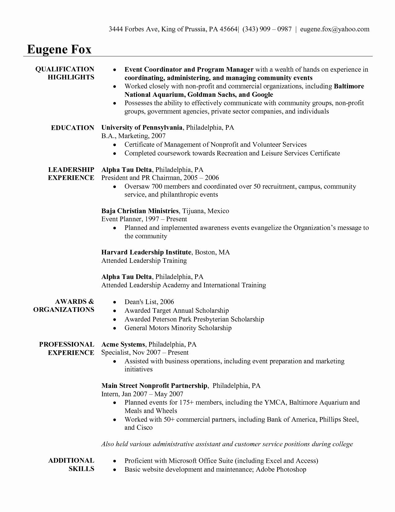 Special events Coordinator Resume Portablegasgrillweber