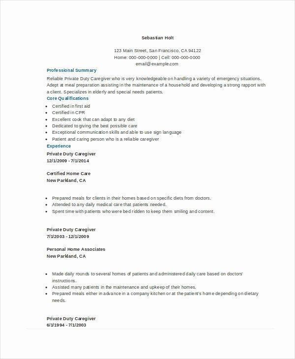 Special Needs Caregiver Sample Resume