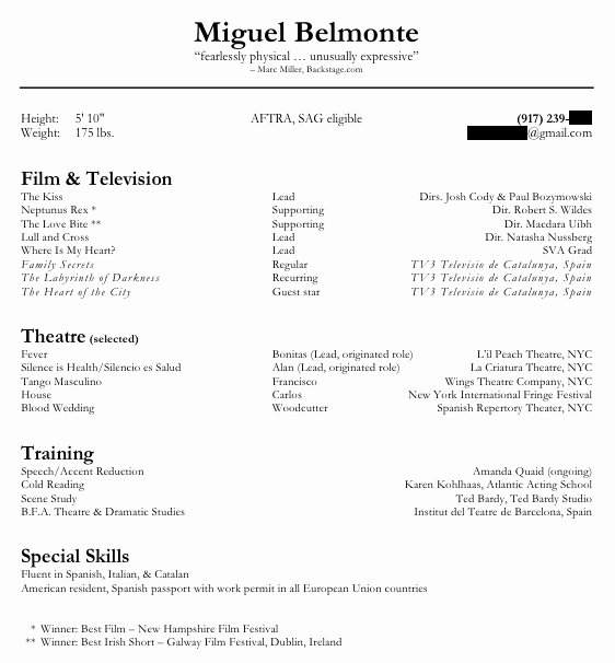 Special Skills Acting Resume
