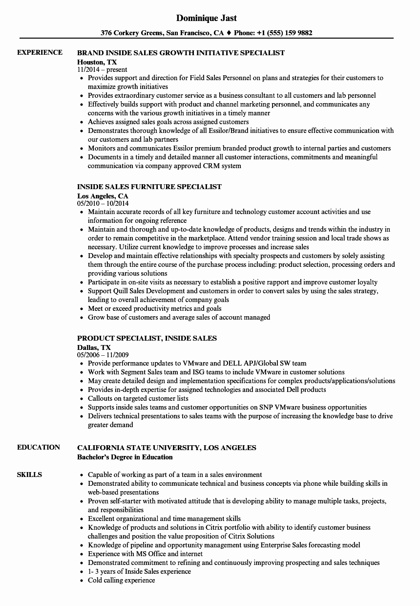 Specialist Inside Sales Resume Samples