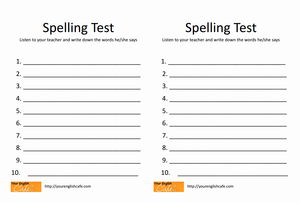 Spelling Test Maker Printable